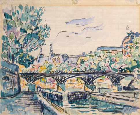 Paul Signac. The banks of the Seine near the Pont des Arts with a view of the Louvre