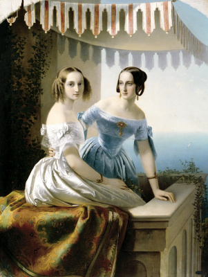 Timofey Andreevich Neff. Portrait of Maria Nikolaevna and Olga Nikolaevna
