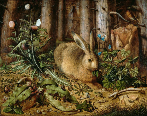 Hans Hoffmann. Hare in the woods