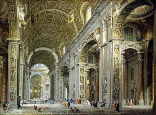 Джованни Паоло Паннини. Внутренний вид собора Святого Петра в Риме