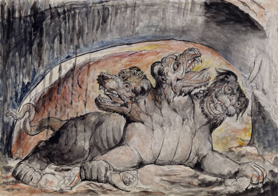 """William Blake. Cerberus. Illustrations for """"the divine Comedy"""""""