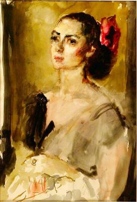 Артур Владимирович Фонвизин. Портрет балерины М.В. Колпакчи. 1956