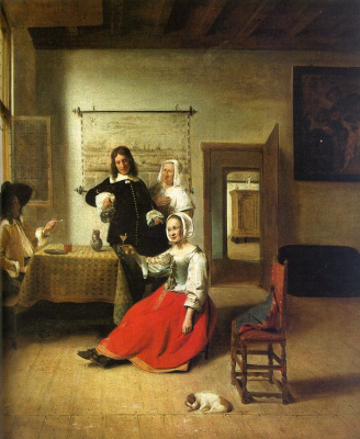 Pieter de Hooch. Drunk. Young woman drinking with soldiers