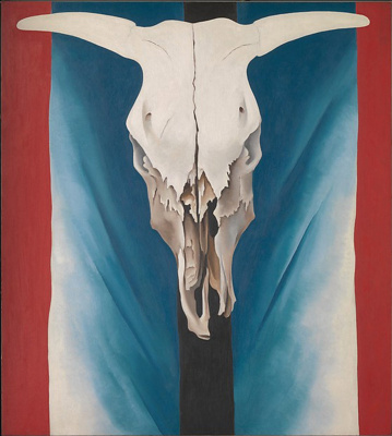 Georgia O'Keeffe. Cow skull: red, white and blue