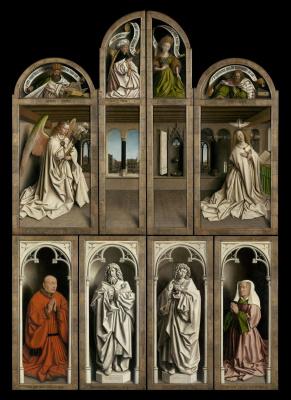 Губерт ван Эйк. Гентский алтарь с закрытыми створками