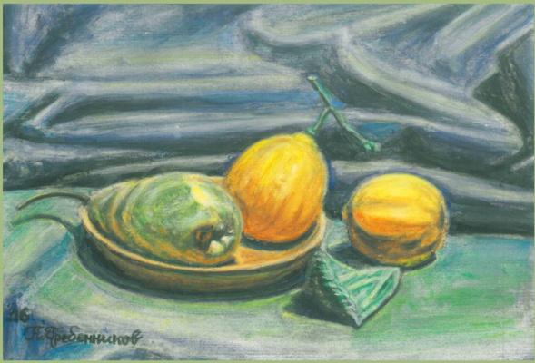 """Nikolay Ernestovich Grebennikov. Still life """"fruit etude"""""""