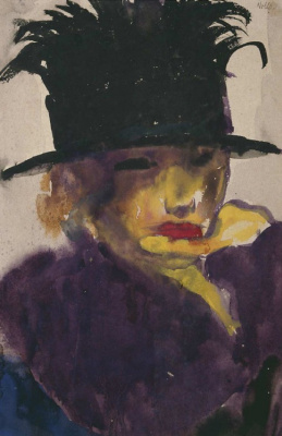 Emil Nolde. Portrait of a young woman in a hat