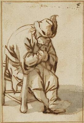Адриан Янс ван Остаде. Сидящий крестьянин в шляпе с пером