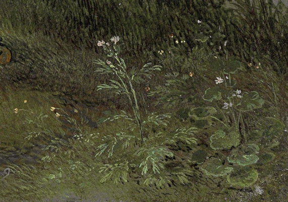 Jan Bruegel The Elder. Dancing figures on the banks of the river fragment. The lower right corner