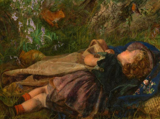Arthur Hughes. The daughter of a woodcutter. Fragment. Sleep
