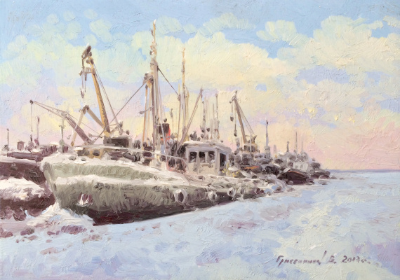 Vasily Ivanovich Gribennikov. Winter. Port