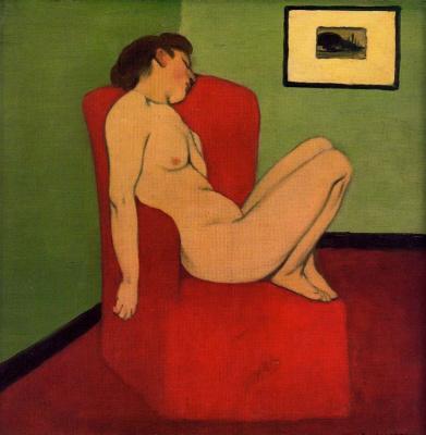 Феликс Валлоттон. Спящая девушка в красном кресле