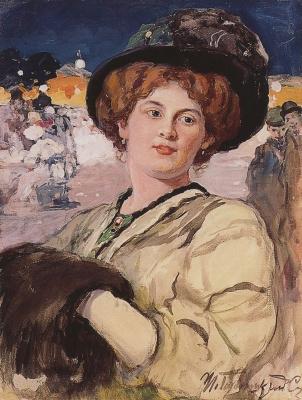 Иван Горюшкин-Сорокопудов. Портрет молодой дамы на фоне ночного кафе