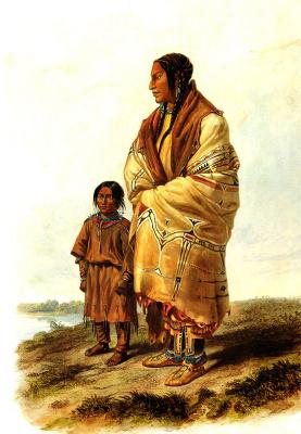 Карл Бодмер. Женщина и ребенок племени дакота