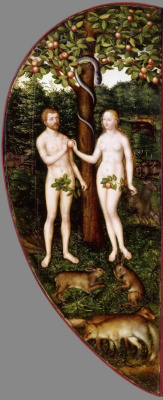 Lucas the Younger Cranach. The Altar Colditzer. Left outer wing: the Fall