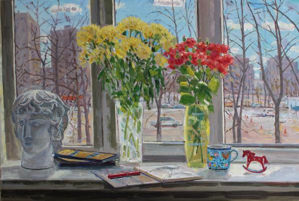 Eugene Alexandrovich Kazantsev. Still Life Spring. Flowers on the window.