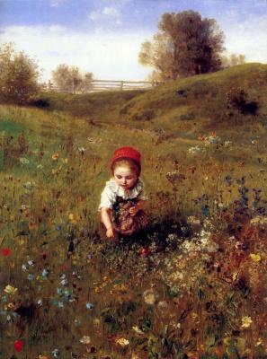 Людвиг Кнаус. Девочка в цветах