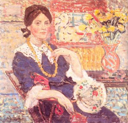 Рендергаст, П Ренргаст. Женщина и ваза с желтыми цветами