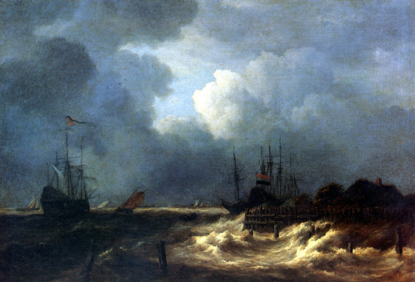 Jakob van Isaacs Ruisdael. Stormy sea at the breakwater