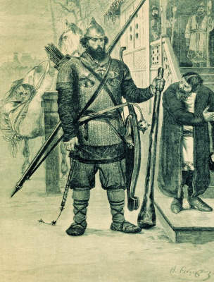 "Andrei Petrovich Ryabushkin. Ilya Muromets. 1895 Illustration for the book ""Russian epic warriors"""