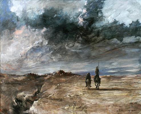 Marcel Pajot. Don Quixote de La Mancha and Sancho Panza