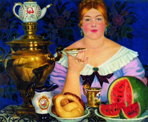 Boris Mikhailovich Kustodiev. The merchant's wife drinking tea