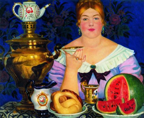 Boris Mikhailovich Kustodiev. The merchant's wife drinking tea