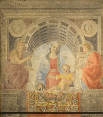 Vincenzo Foppa. Madonna and Child, Saint John the Baptist and John the Theologian (Madonna with Carpet)