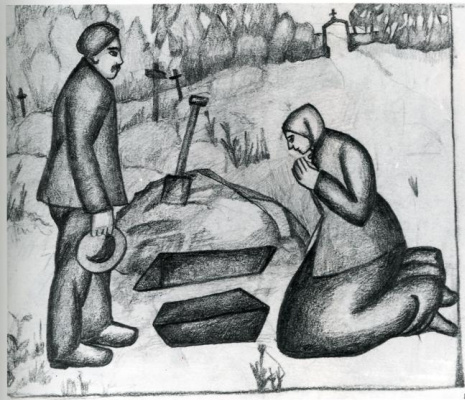 Kazimir Malevich. At the cemetery