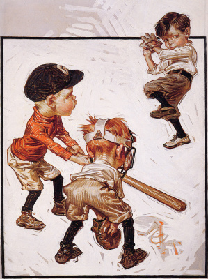Joseph Christian Leyendecker. Boys play baseball