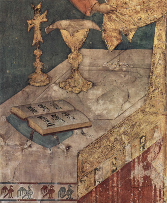 Симоне Мартини. Цикл фресок со сценами из жития св. Мартина Турского. Чудотворная месса св. Мартина. Фрагмент. Книга Библия на алтаре