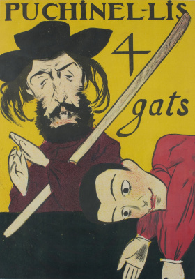 "Ramon Casas i Carbó. Poster ""Puchinel lis"". Puppet Theater ""4 cats"""