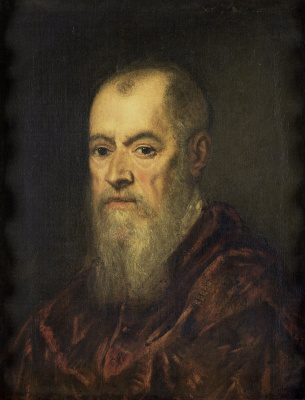 Jacopo (Robusti) Tintoretto. Portrait of a man in a red cloak