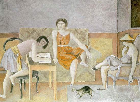 Balthus (Balthasar Klossovsky de Rola). Three sisters and a cat