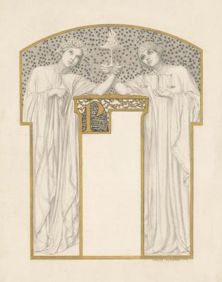 Карлос Швабе. Аллегорические фигуры, держащие горящую таццу. 1908  золотая краска