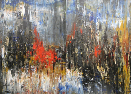 "Tanya Vasilenko. ""City"", diptych, acrylic on canvas. City, diptych, both parts. Acrylic on canvas."