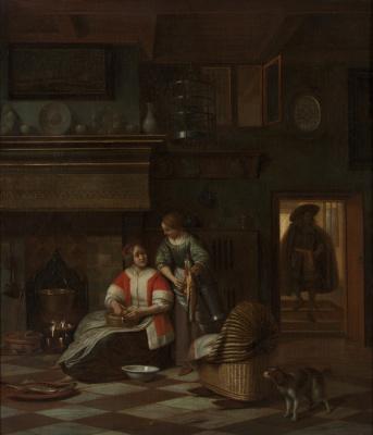 Питер де Хох. Хозяйка и служанка чистят рыбу