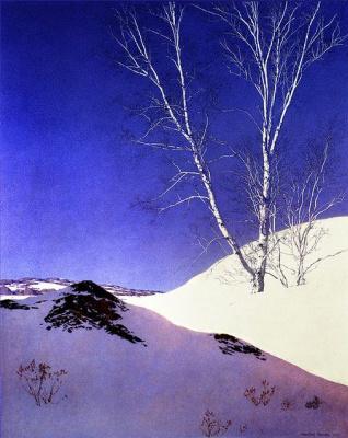 Maxfield Parrish. Winter landscape: white birch