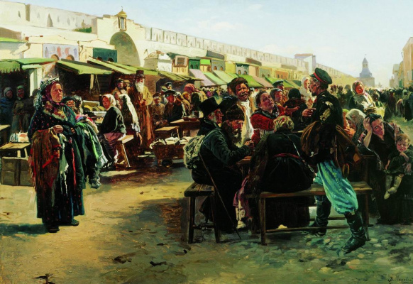 """Vladimir Egorovich Makovsky. At noon. Study for the painting """"Tolkuchy market in Moscow"""""""