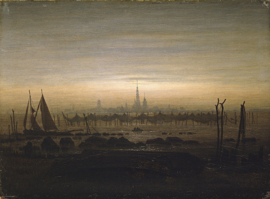 Caspar David Friedrich. Greifswald in moonlight