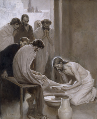 Albert Gustav Aristide Edelfelt. Jesus washes the feet of his disciples. 1898