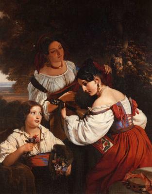 Franz Xaver Winterhalter. Genre scenes from Italian life. Fragment