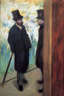 Edgar Degas. Portrait of a friends behind the scenes. Ludovic Halevy and albert cave