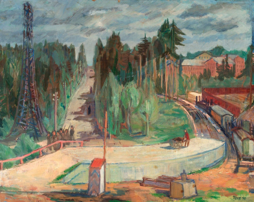 Tuva Jansson. Forest landscape with train station