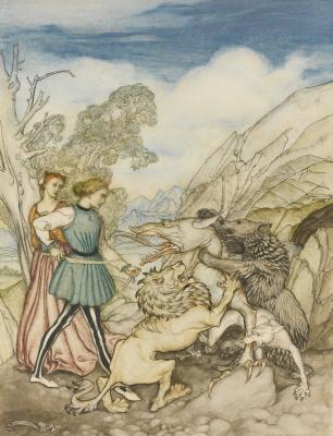 Arthur Rackham. Cesarino and the Dragon