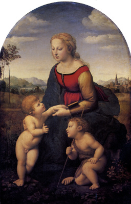 Raphael Santi. A great gardener. Madonna and child with John the Baptist