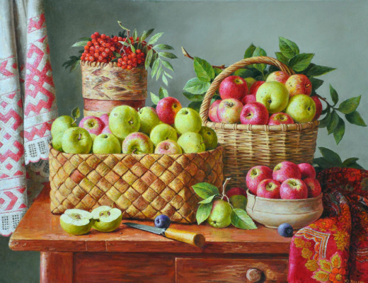 Юрий Викторович Кудрин. Натюрморт с яблоками.  2012