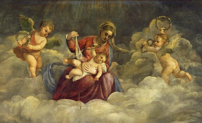 Тициан Вечеллио. Мадонна с младенцем и святыми (Мадонна деи Фрари). Фрагмент 1