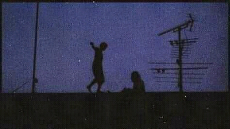 Nobert Snoopy. Two boys playing on the roof