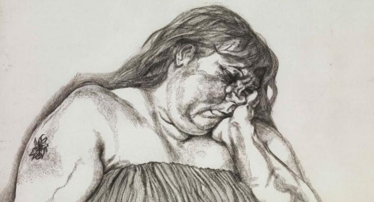 Люсьен Фрейд. Женщина с татуировкой на руке